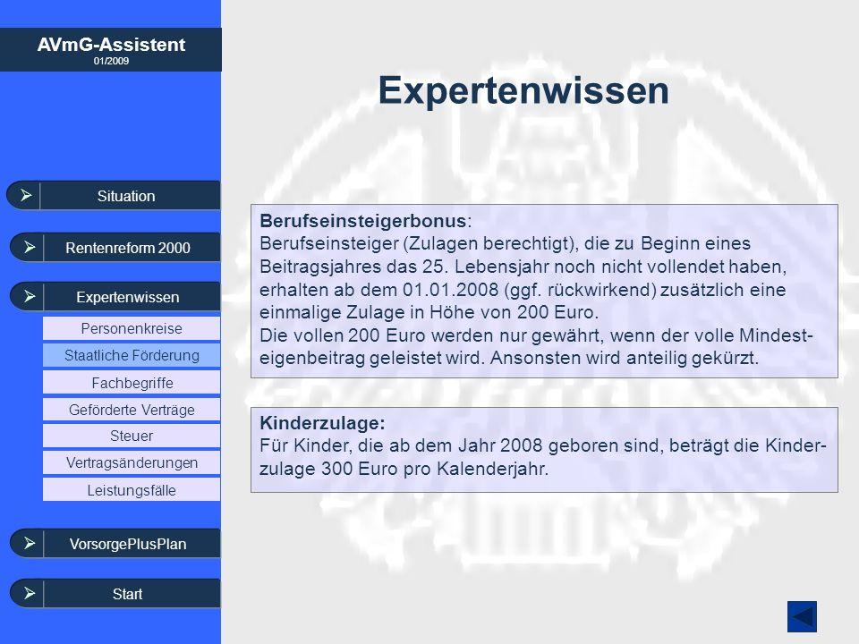AVmG-Assistent 01/2009 Expertenwissen Berufseinsteigerbonus: Berufseinsteiger (Zulagen berechtigt), die zu Beginn eines Beitragsjahres das 25. Lebensj
