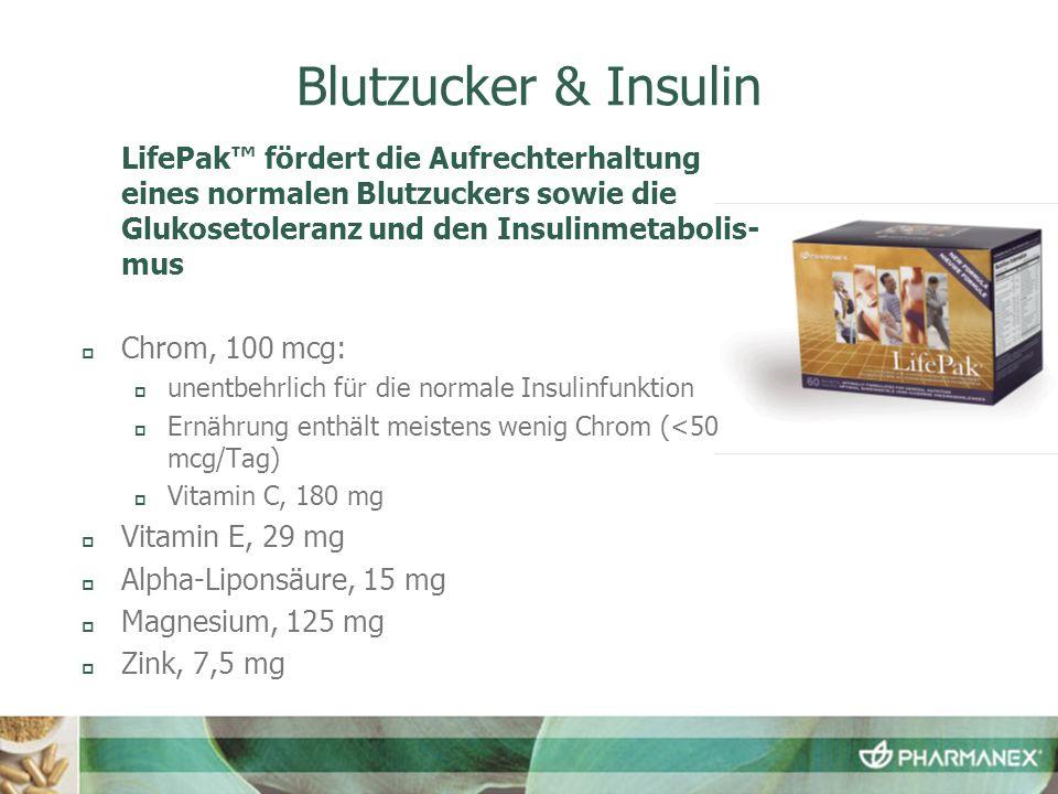 Blutzucker & Insulin LifePak fördert die Aufrechterhaltung eines normalen Blutzuckers sowie die Glukosetoleranz und den Insulinmetabolis- mus Chrom, 1