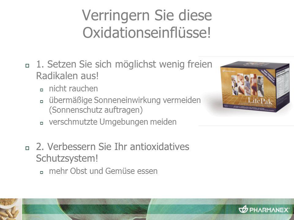 Verringern Sie diese Oxidationseinflüsse! 1. Setzen Sie sich möglichst wenig freien Radikalen aus! nicht rauchen übermäßige Sonneneinwirkung vermeiden