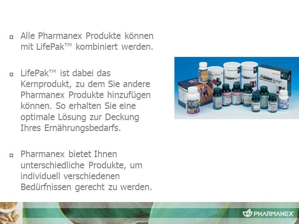 Alle Pharmanex Produkte können mit LifePak kombiniert werden. LifePak ist dabei das Kernprodukt, zu dem Sie andere Pharmanex Produkte hinzufügen könne