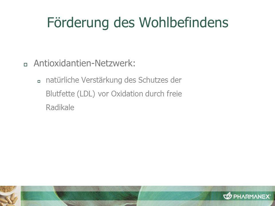 Förderung des Wohlbefindens Antioxidantien-Netzwerk: natürliche Verstärkung des Schutzes der Blutfette (LDL) vor Oxidation durch freie Radikale