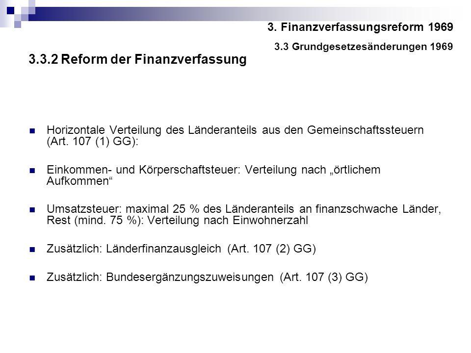 3.3.2 Reform der Finanzverfassung Horizontale Verteilung des Länderanteils aus den Gemeinschaftssteuern (Art.