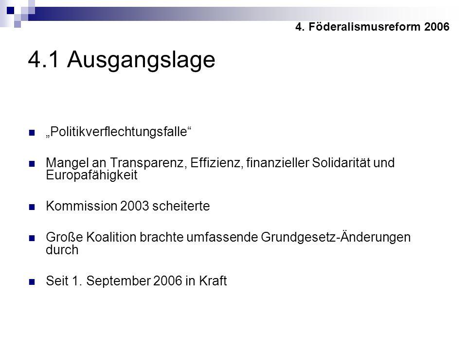 4.1 Ausgangslage Politikverflechtungsfalle Mangel an Transparenz, Effizienz, finanzieller Solidarität und Europafähigkeit Kommission 2003 scheiterte Große Koalition brachte umfassende Grundgesetz-Änderungen durch Seit 1.