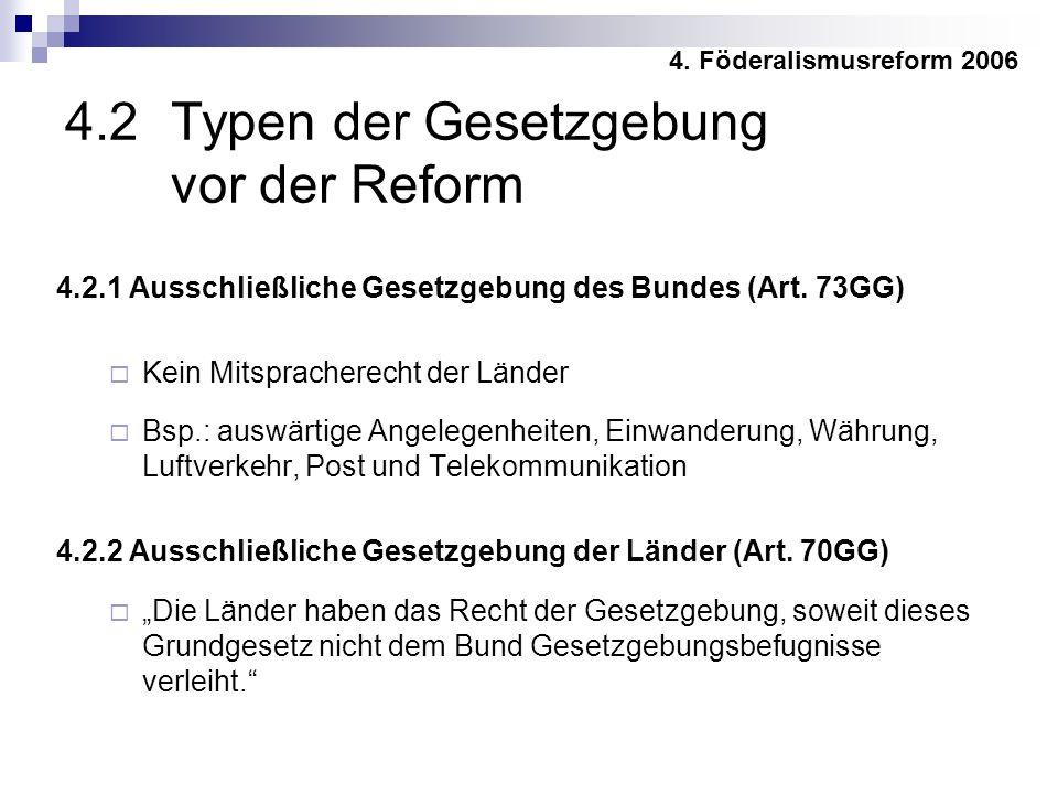 4.2.1 Ausschließliche Gesetzgebung des Bundes (Art.