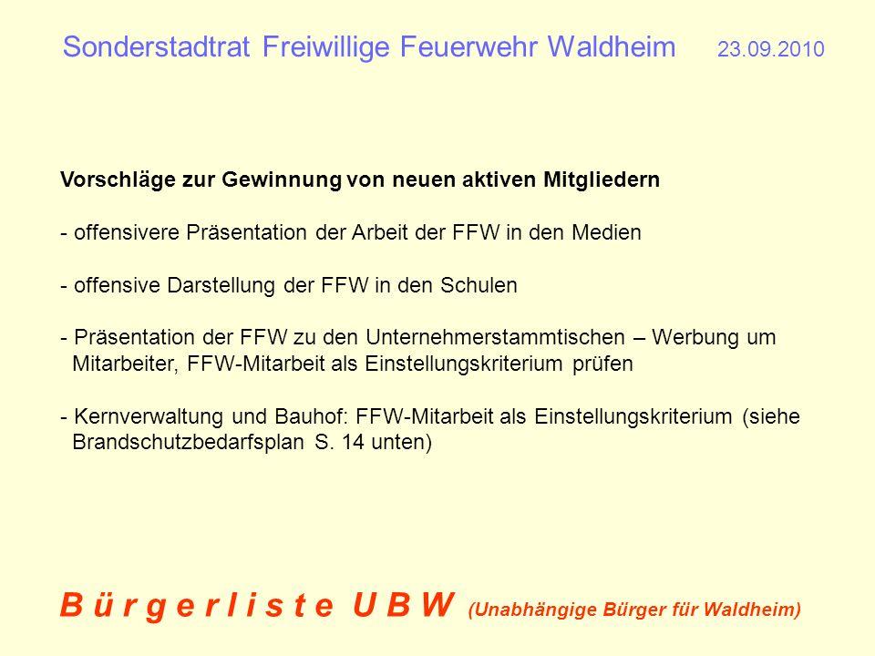 Sonderstadtrat Freiwillige Feuerwehr Waldheim 23.09.2010 B ü r g e r l i s t e U B W (Unabhängige Bürger für Waldheim) Vorschläge zur Kosteneinsparung - aktives Kostenmanagement in den Feuerwehr-/Dorfgemeinschaftshäusern (z.B.