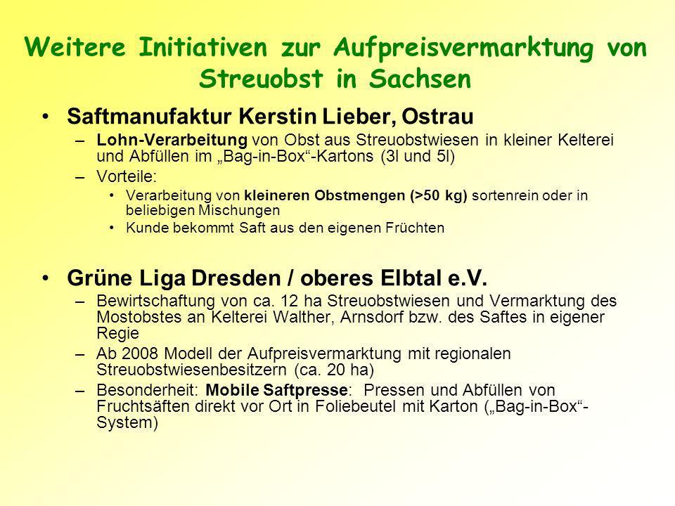 Weitere Initiativen zur Aufpreisvermarktung von Streuobst in Sachsen Saftmanufaktur Kerstin Lieber, Ostrau –Lohn-Verarbeitung von Obst aus Streuobstwiesen in kleiner Kelterei und Abfüllen im Bag-in-Box-Kartons (3l und 5l) –Vorteile: Verarbeitung von kleineren Obstmengen (>50 kg) sortenrein oder in beliebigen Mischungen Kunde bekommt Saft aus den eigenen Früchten Grüne Liga Dresden / oberes Elbtal e.V.