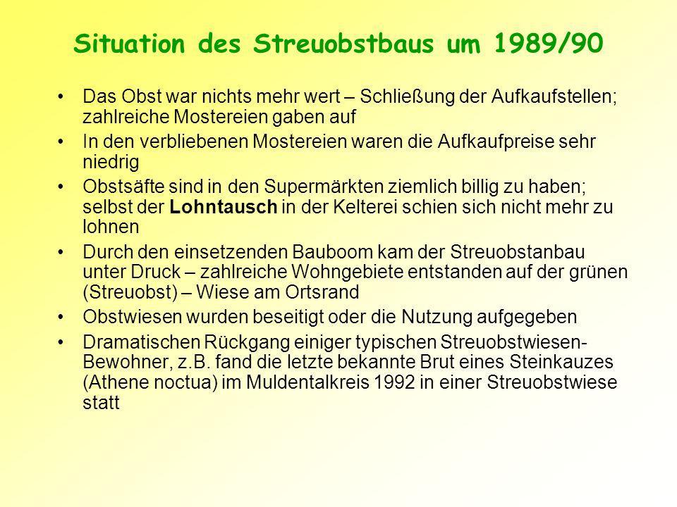 Rettung für den Streuobstanbau: Aufpreisvermarktung, Naturschutz und Förderung In Gesprächen mit Obstwiesenbesitzern wurde schnell klar, dass für den langfristigen Erhalt der Streuobstwiesen eine rentable Vermarktung des Mostobstes von größter Bedeutung ist 1988 begannen Naturschützer des BUND und des Nabu am Bodensee mit der Aufpreisvermarktung von Mostobst aus Streuobstbeständen Seit 1991 begann die BUND-Kreisgruppe Muldental mit der Aktion Grimmaer Apfelsaft Das Sächsische Naturschutzgesetz von 1993 stellt Streuobstwiesen unter Naturschutz (§26 SächsNatSchG) Seit 1992 Förderung der Pflege von Streuobstwiesen in Sachsen im Rahmen verschiedener Agrar-Umweltprogramme Auch Neuanlage und Erneuerung von Streuobstwiesen wird gefördert