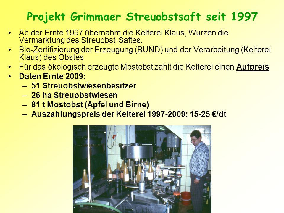 Projekt Grimmaer Streuobstsaft seit 1997 Ab der Ernte 1997 übernahm die Kelterei Klaus, Wurzen die Vermarktung des Streuobst-Saftes.