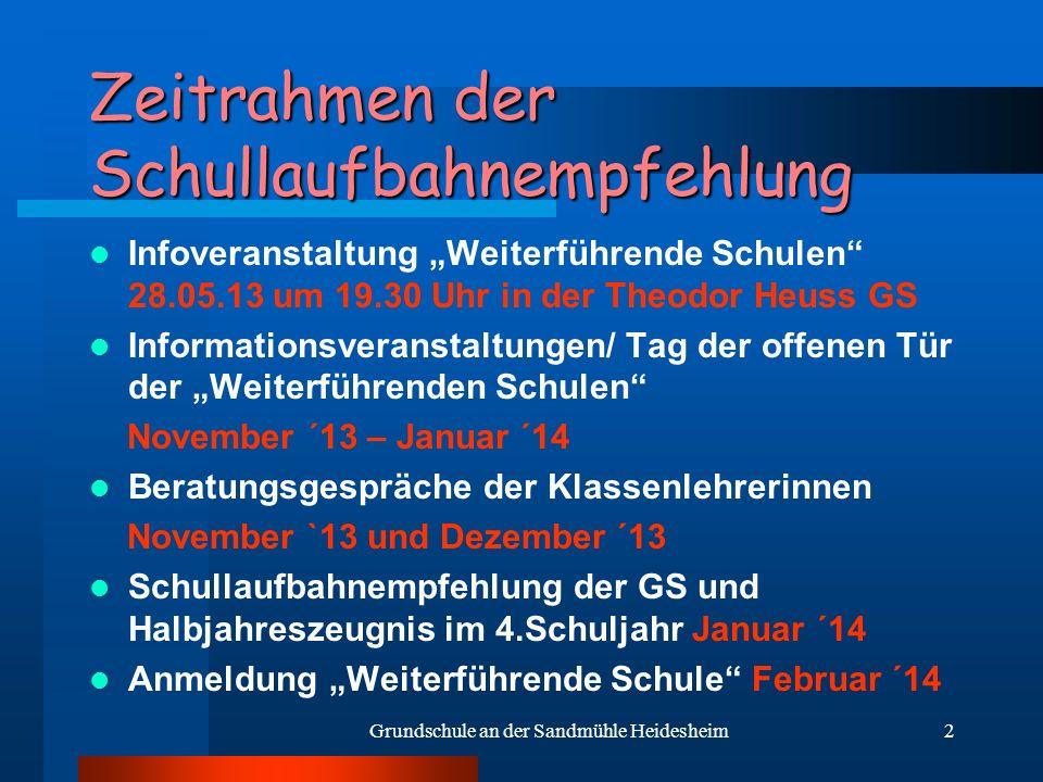 2 Zeitrahmen der Schullaufbahnempfehlung Infoveranstaltung Weiterführende Schulen 28.05.13 um 19.30 Uhr in der Theodor Heuss GS Informationsveranstalt