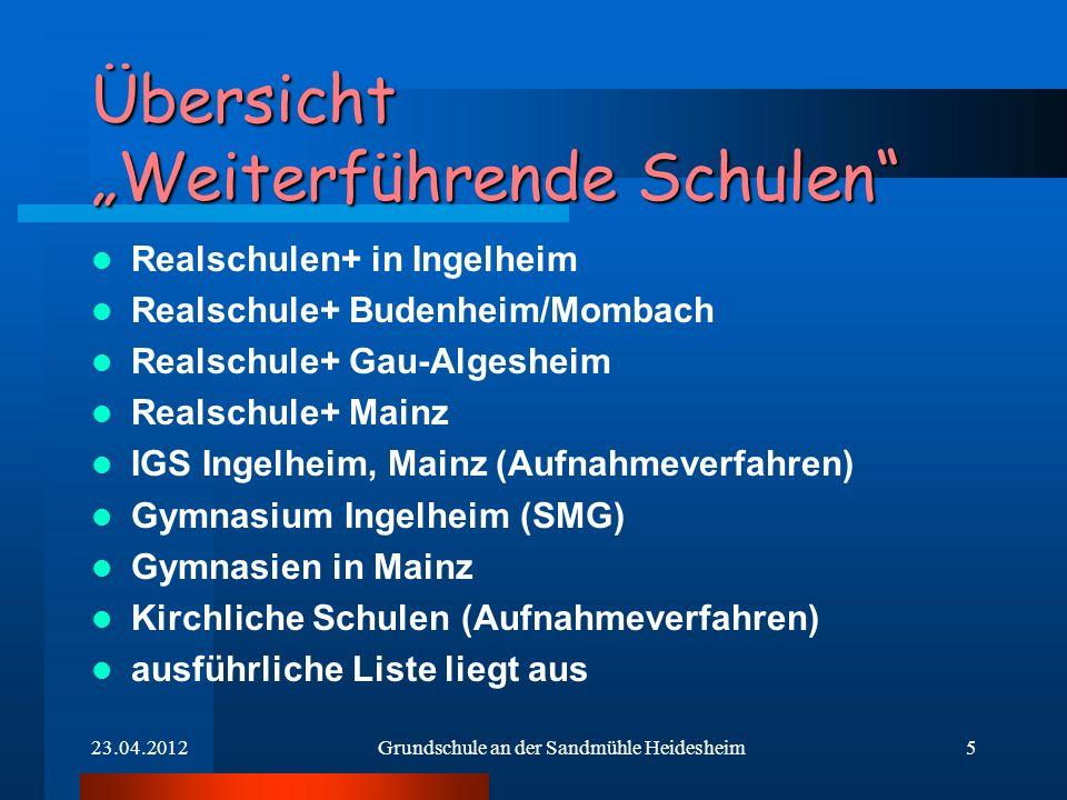 5 Übersicht Weiterführende Schulen Realschulen+ in Ingelheim Realschule+ Budenheim/Mombach Realschule+ Gau-Algesheim Realschule+ Mainz IGS Ingelheim,