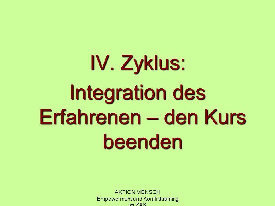 AKTION MENSCH Empowerment und Konflikttraining im ZAK IV. Zyklus: Integration des Erfahrenen – den Kurs beenden