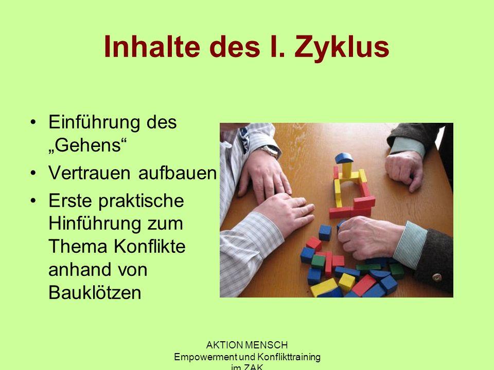 AKTION MENSCH Empowerment und Konflikttraining im ZAK Inhalte des I.