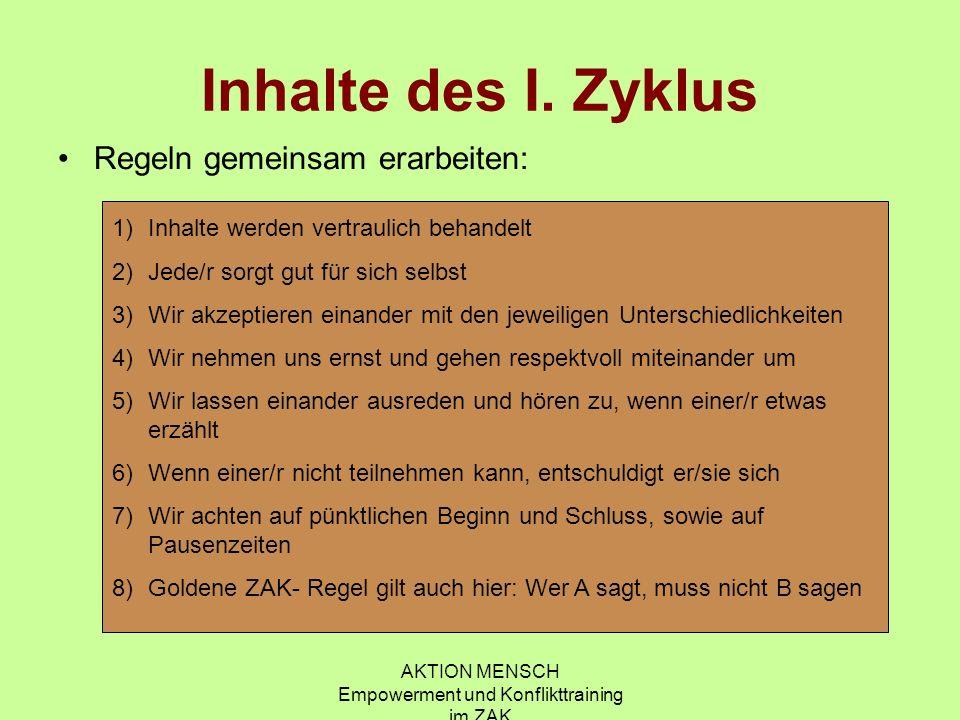 AKTION MENSCH Empowerment und Konflikttraining im ZAK II.