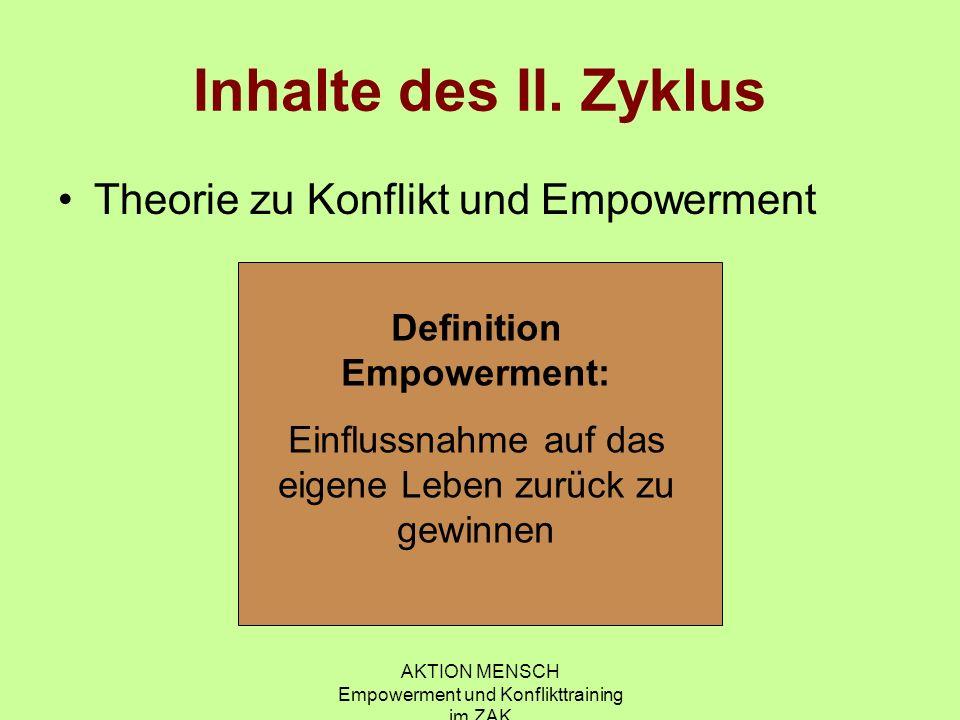 AKTION MENSCH Empowerment und Konflikttraining im ZAK Inhalte des II. Zyklus Theorie zu Konflikt und Empowerment Definition Empowerment: Einflussnahme