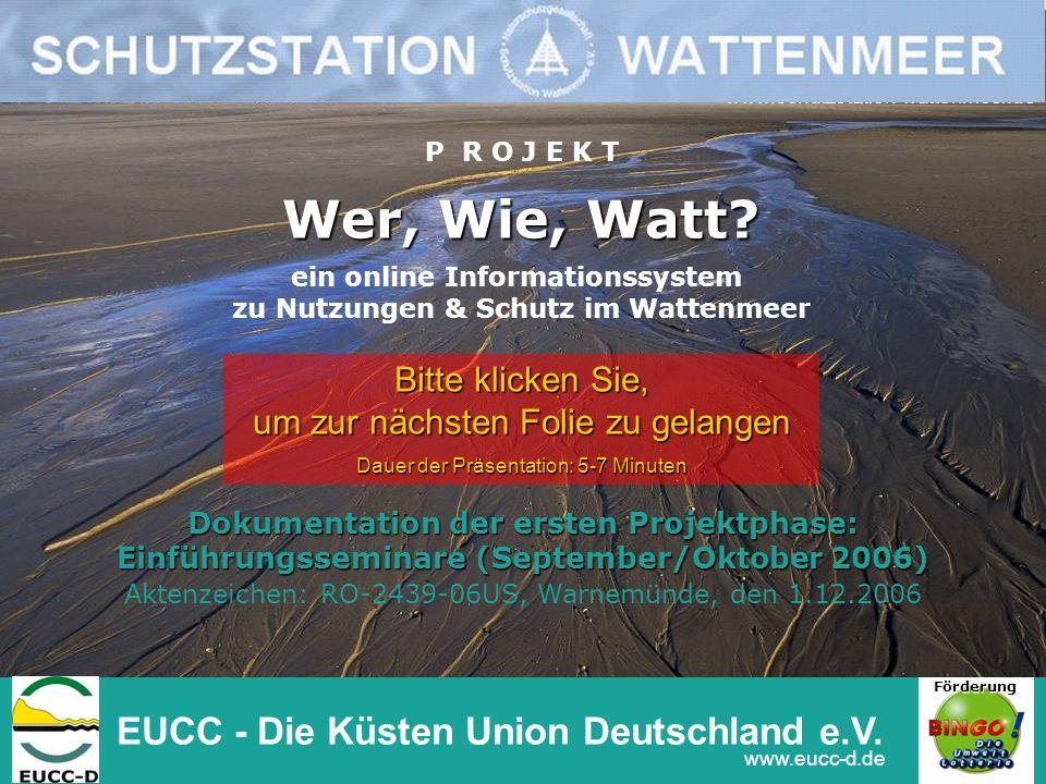 Wer, Wie, Watt? Dokumentation der ersten Projektphase: Einführungsseminare (September/Oktober 2006) Aktenzeichen: RO-2439-06US, Warnemünde, den 1.12.2