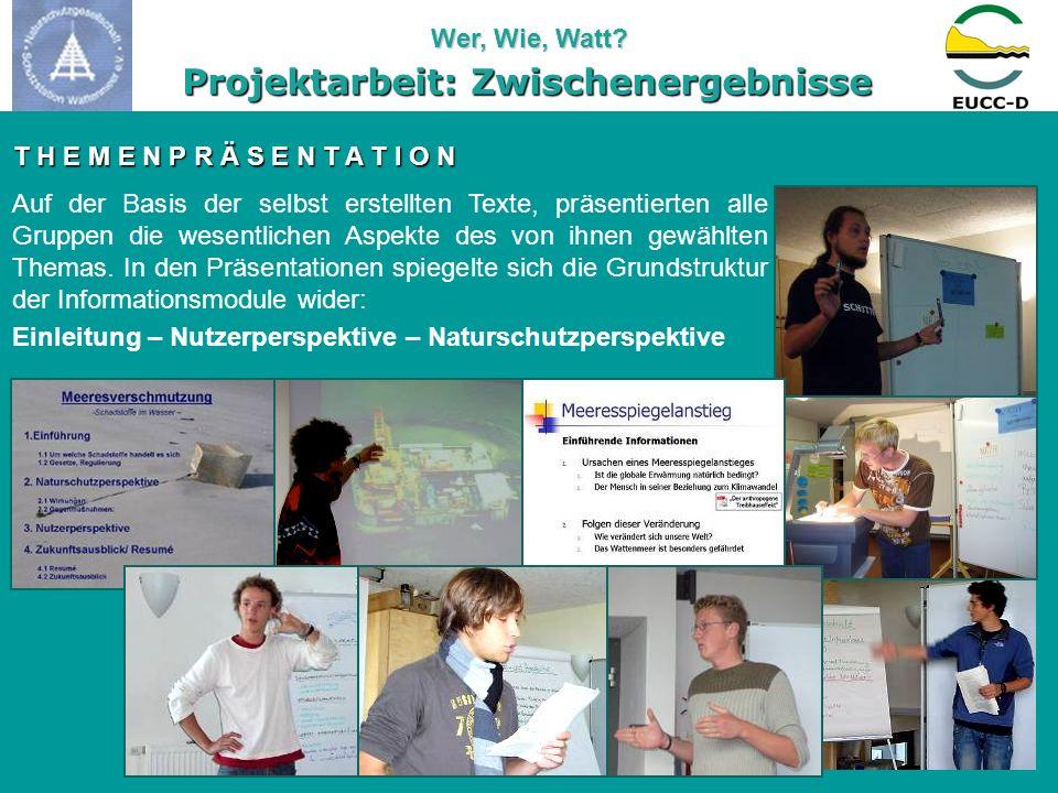 Wer, Wie, Watt? Powerpoint-Präsentationen Freie Vorträge InteraktiveDiskussion Themen- entwicklung auf OH-Folien Flipchart-Präsentation Projektarbeit: