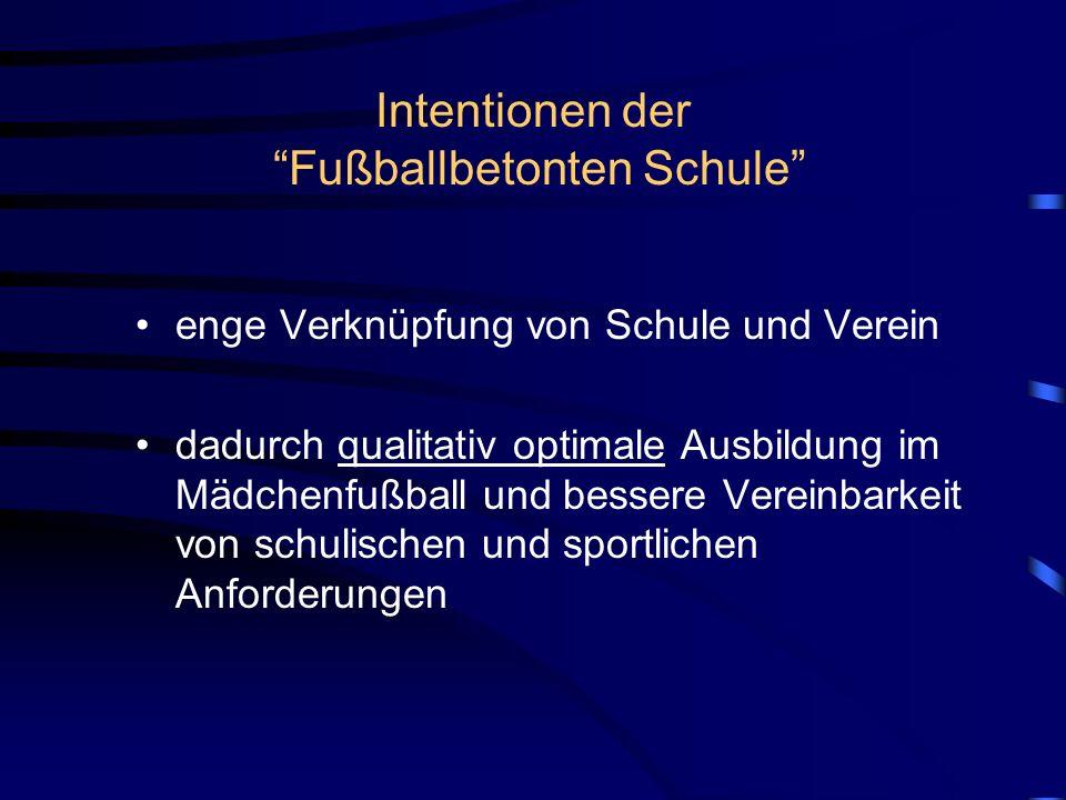 Intentionen der Fußballbetonten Schule enge Verknüpfung von Schule und Verein dadurch qualitativ optimale Ausbildung im Mädchenfußball und bessere Ver