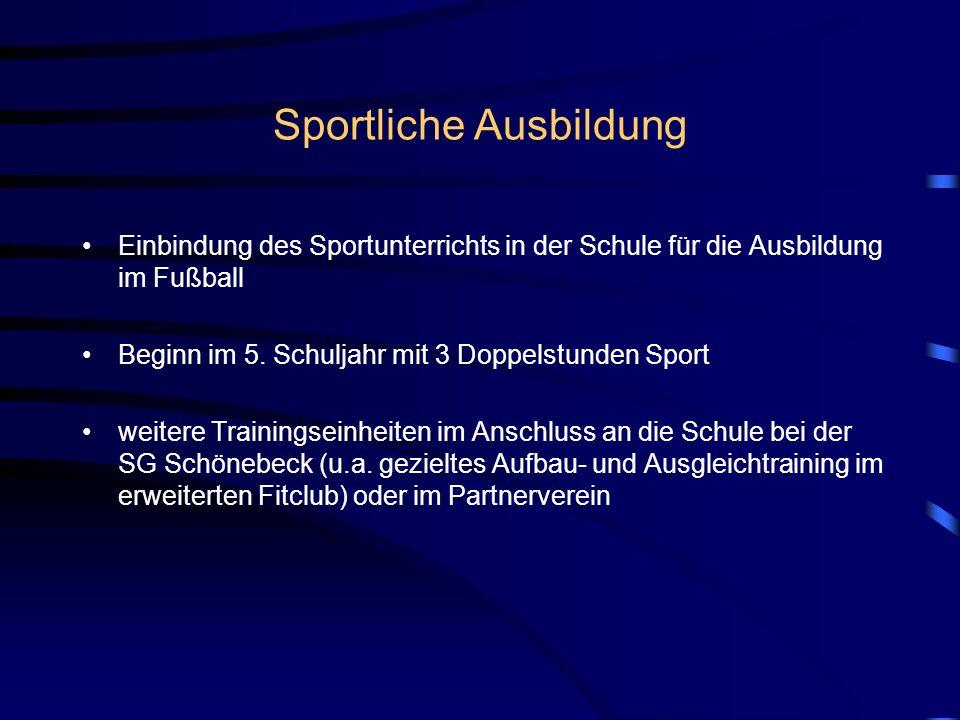 Sportliche Ausbildung Einbindung des Sportunterrichts in der Schule für die Ausbildung im Fußball Beginn im 5. Schuljahr mit 3 Doppelstunden Sport wei