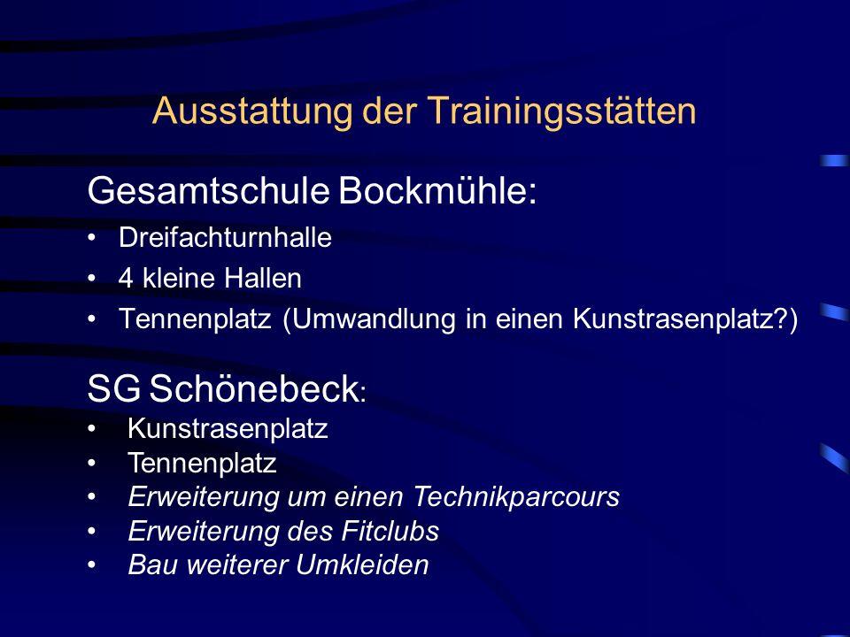 Ausstattung der Trainingsstätten Gesamtschule Bockmühle: Dreifachturnhalle 4 kleine Hallen Tennenplatz (Umwandlung in einen Kunstrasenplatz?) SG Schön