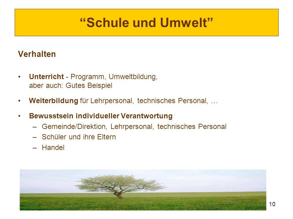 10 Schule und Umwelt Verhalten Unterricht - Programm, Umweltbildung, aber auch: Gutes Beispiel Weiterbildung für Lehrpersonal, technisches Personal, …