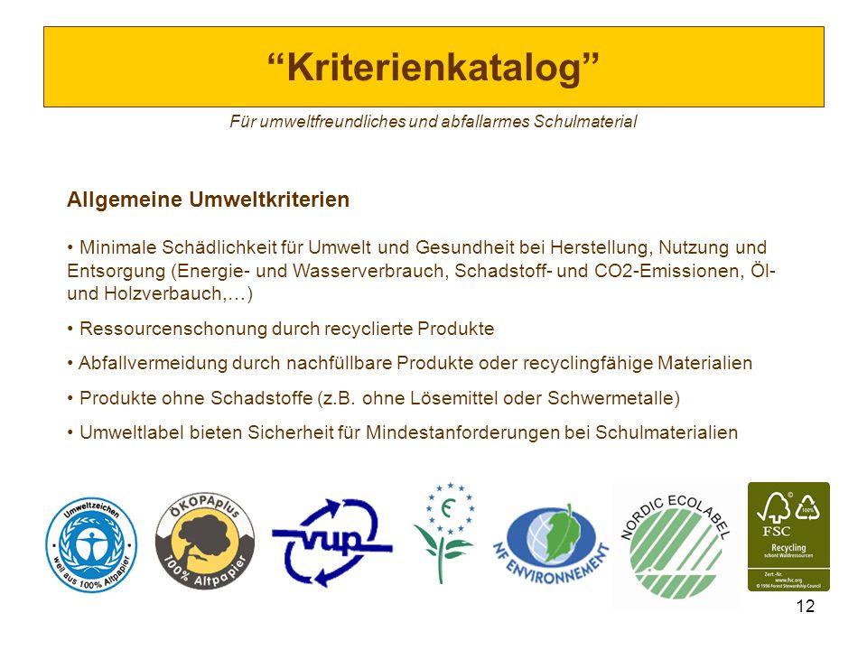 12 Kriterienkatalog Für umweltfreundliches und abfallarmes Schulmaterial Allgemeine Umweltkriterien Minimale Schädlichkeit für Umwelt und Gesundheit b