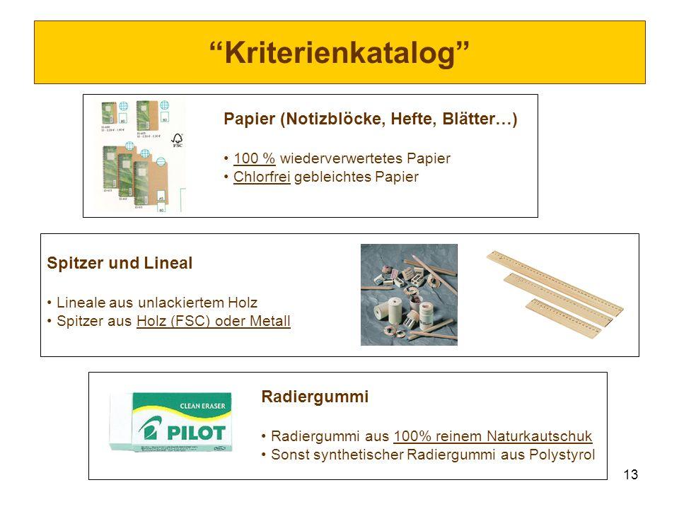 13 Kriterienkatalog Papier (Notizblöcke, Hefte, Blätter…) 100 % wiederverwertetes Papier Chlorfrei gebleichtes Papier Spitzer und Lineal Lineale aus u