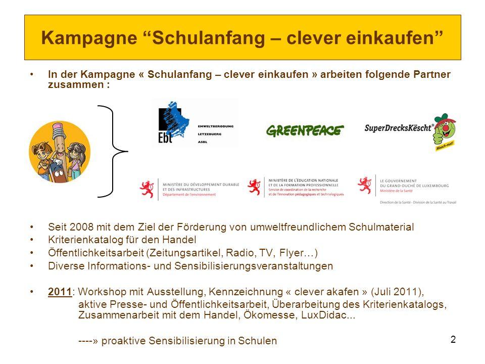 2 Kampagne Schulanfang – clever einkaufen In der Kampagne « Schulanfang – clever einkaufen » arbeiten folgende Partner zusammen : Seit 2008 mit dem Zi
