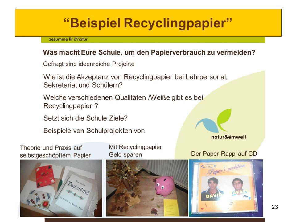 23 Beispiel Recyclingpapier