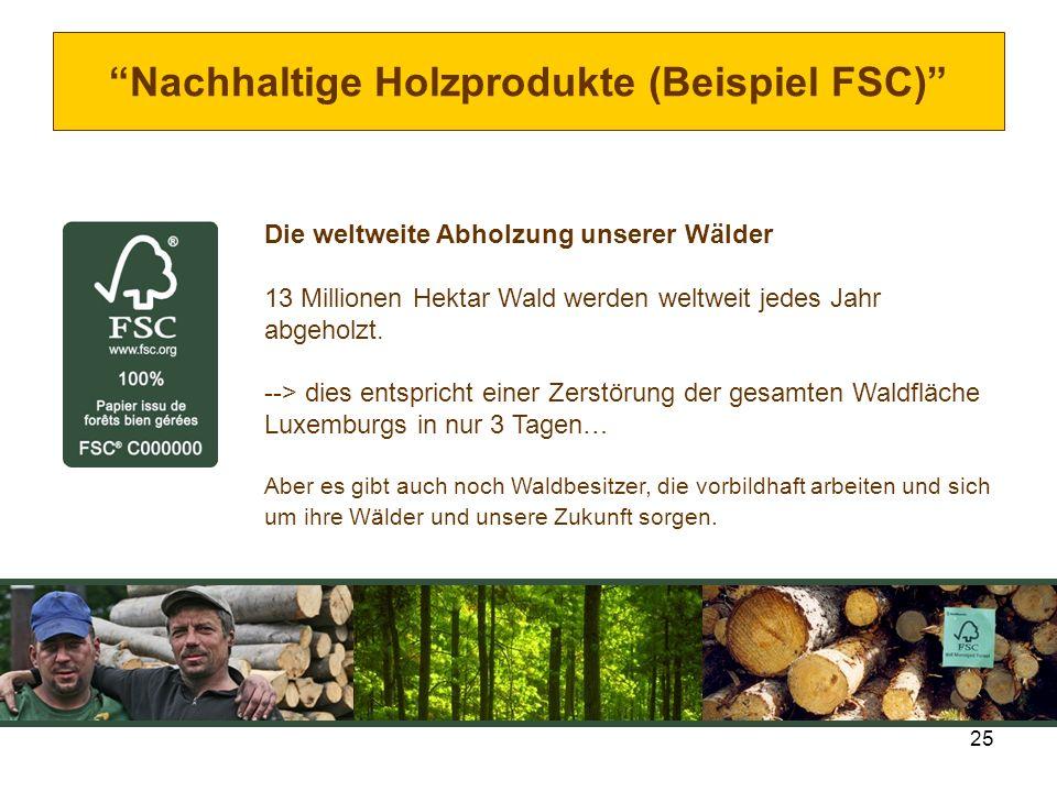 25 Nachhaltige Holzprodukte (Beispiel FSC) Die weltweite Abholzung unserer Wälder 13 Millionen Hektar Wald werden weltweit jedes Jahr abgeholzt. --> d