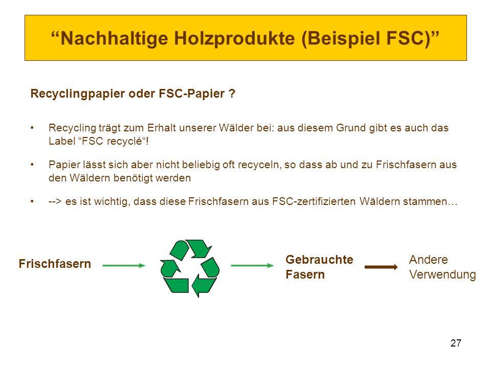 27 Nachhaltige Holzprodukte (Beispiel FSC) Recyclingpapier oder FSC-Papier ? Recycling trägt zum Erhalt unserer Wälder bei: aus diesem Grund gibt es a