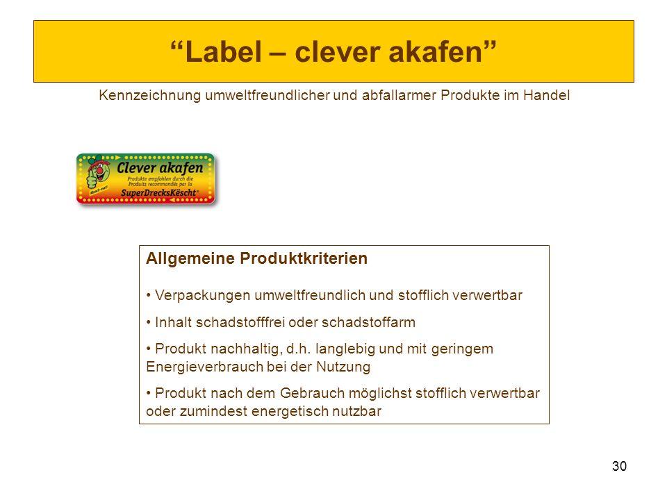 30 Label – clever akafen Kennzeichnung umweltfreundlicher und abfallarmer Produkte im Handel Allgemeine Produktkriterien Verpackungen umweltfreundlich