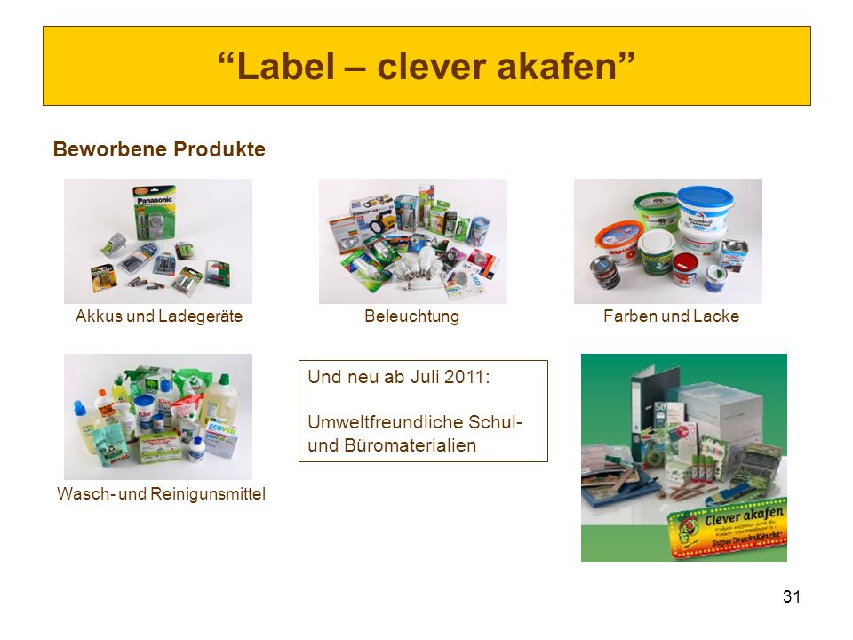 31 Label – clever akafen Beworbene Produkte Akkus und Ladegeräte Beleuchtung Farben und Lacke Wasch- und Reinigunsmittel Und neu ab Juli 2011: Umweltf