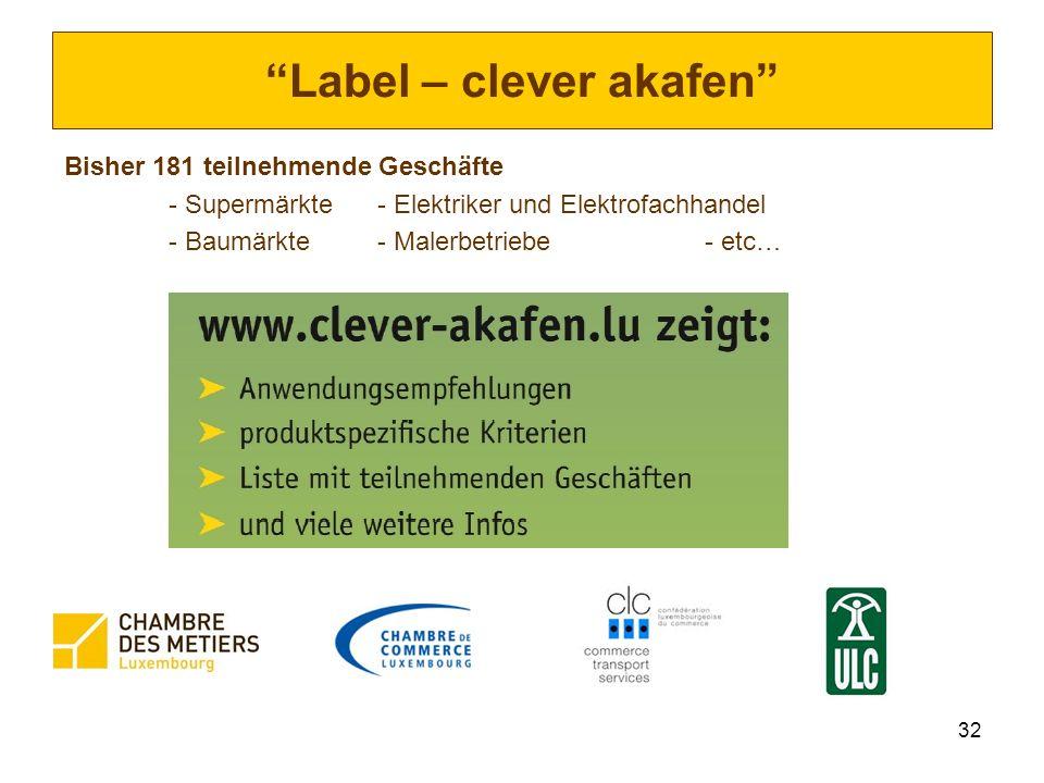 32 Label – clever akafen Bisher 181 teilnehmende Geschäfte - Supermärkte- Elektriker und Elektrofachhandel - Baumärkte- Malerbetriebe - etc…