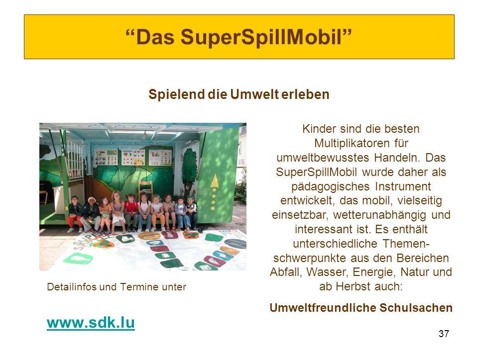 37 Das SuperSpillMobil Spielend die Umwelt erleben Detailinfos und Termine unter www.sdk.lu Kinder sind die besten Multiplikatoren für umweltbewusstes