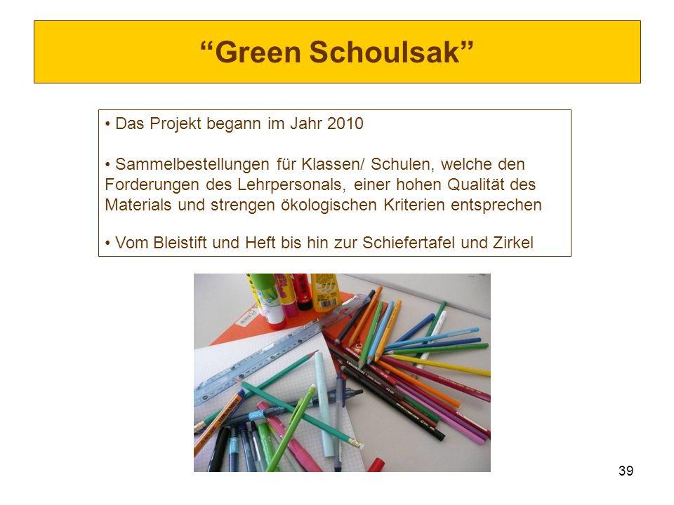 39 Green Schoulsak Das Projekt begann im Jahr 2010 Sammelbestellungen für Klassen/ Schulen, welche den Forderungen des Lehrpersonals, einer hohen Qual