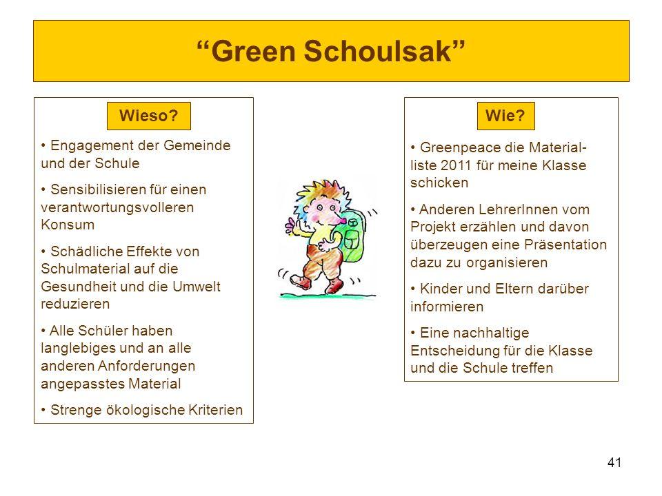 41 Green Schoulsak Engagement der Gemeinde und der Schule Sensibilisieren für einen verantwortungsvolleren Konsum Schädliche Effekte von Schulmaterial