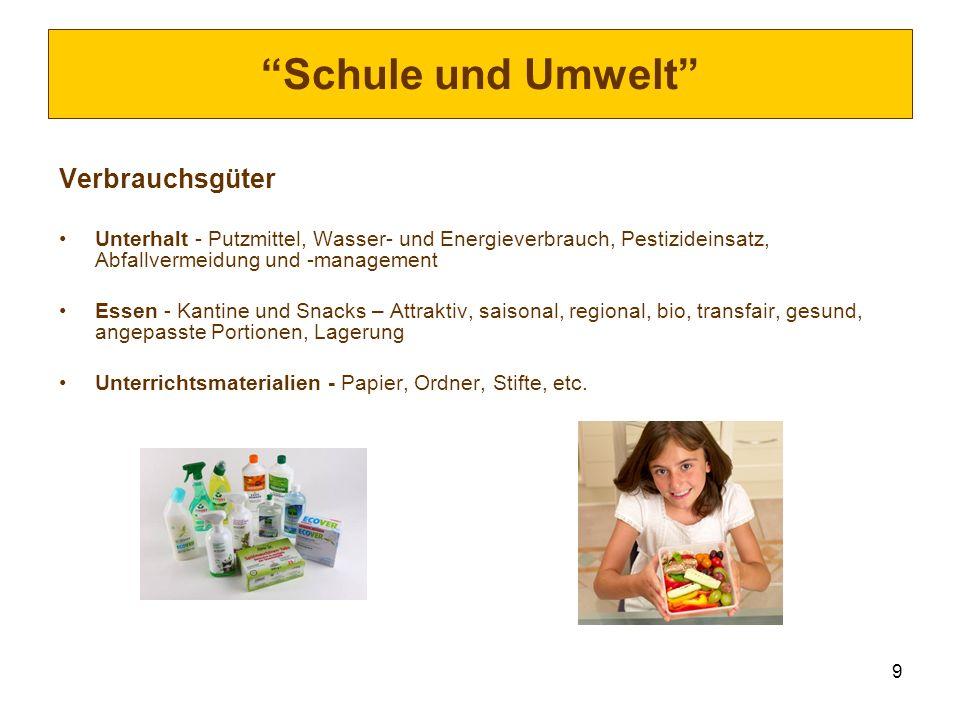 9 Schule und Umwelt Verbrauchsgüter Unterhalt - Putzmittel, Wasser- und Energieverbrauch, Pestizideinsatz, Abfallvermeidung und -management Essen - Ka