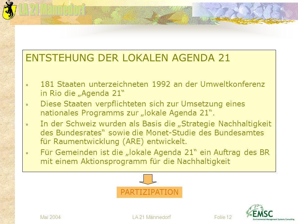 LA 21 MännedorfMai 2004Folie 12 ENTSTEHUNG DER LOKALEN AGENDA 21 181 Staaten unterzeichneten 1992 an der Umweltkonferenz in Rio die Agenda 21 Diese St