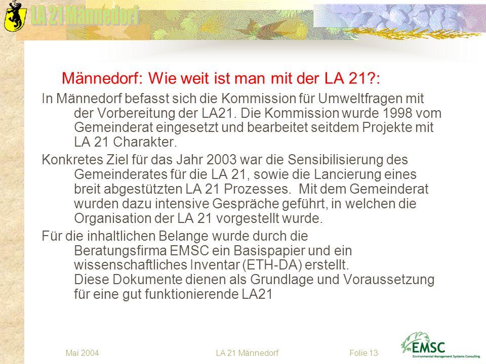 LA 21 MännedorfMai 2004Folie 13 Männedorf: Wie weit ist man mit der LA 21?: In Männedorf befasst sich die Kommission für Umweltfragen mit der Vorberei