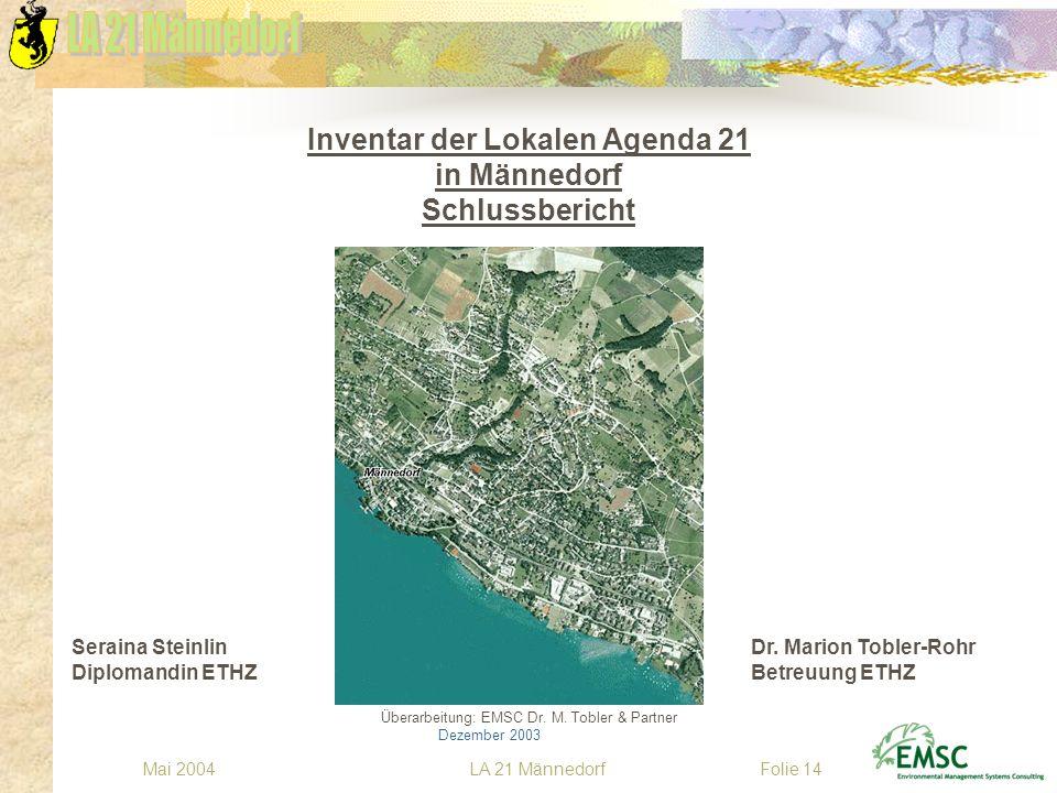 LA 21 MännedorfMai 2004Folie 14 Inventar der Lokalen Agenda 21 in Männedorf Schlussbericht Seraina Steinlin Dr. Marion Tobler-Rohr Diplomandin ETHZBet