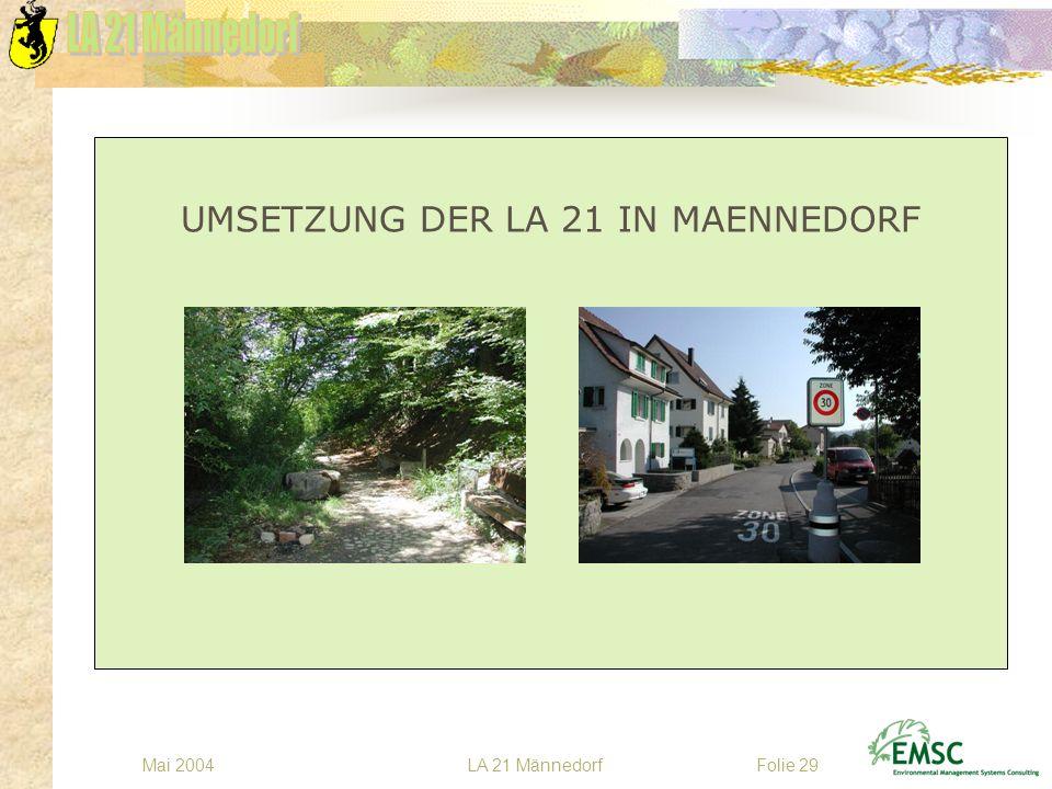 LA 21 MännedorfMai 2004Folie 29 UMSETZUNG DER LA 21 IN MAENNEDORF