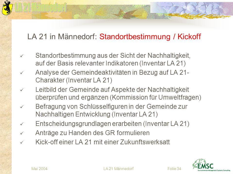 LA 21 MännedorfMai 2004Folie 34 LA 21 in Männedorf: Standortbestimmung / Kickoff Standortbestimmung aus der Sicht der Nachhaltigkeit, auf der Basis re