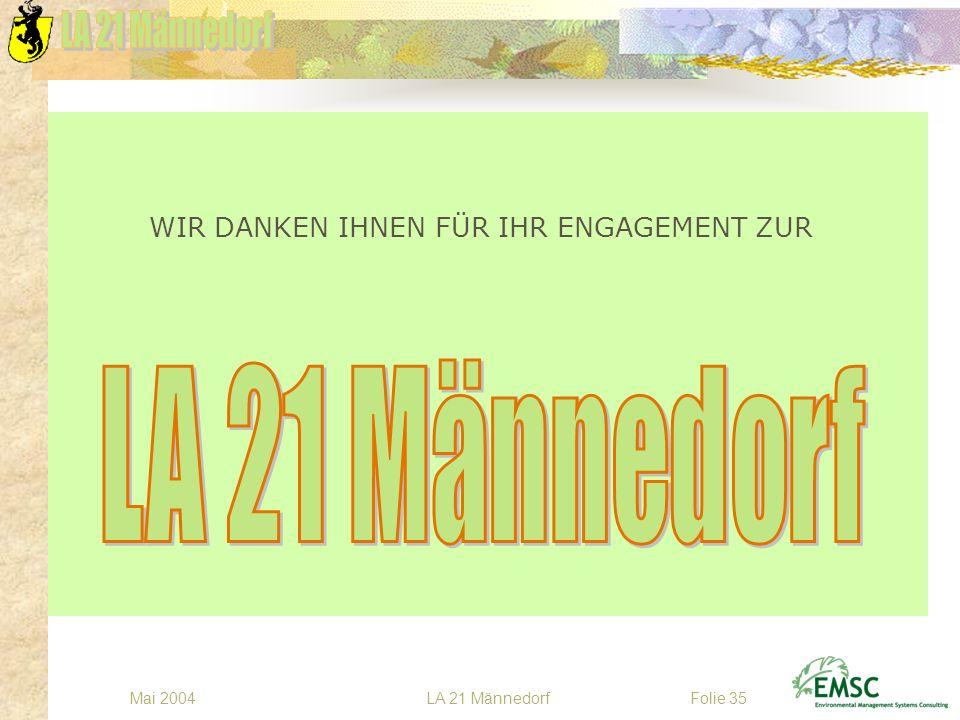 LA 21 MännedorfMai 2004Folie 35 WIR DANKEN IHNEN FÜR IHR ENGAGEMENT ZUR