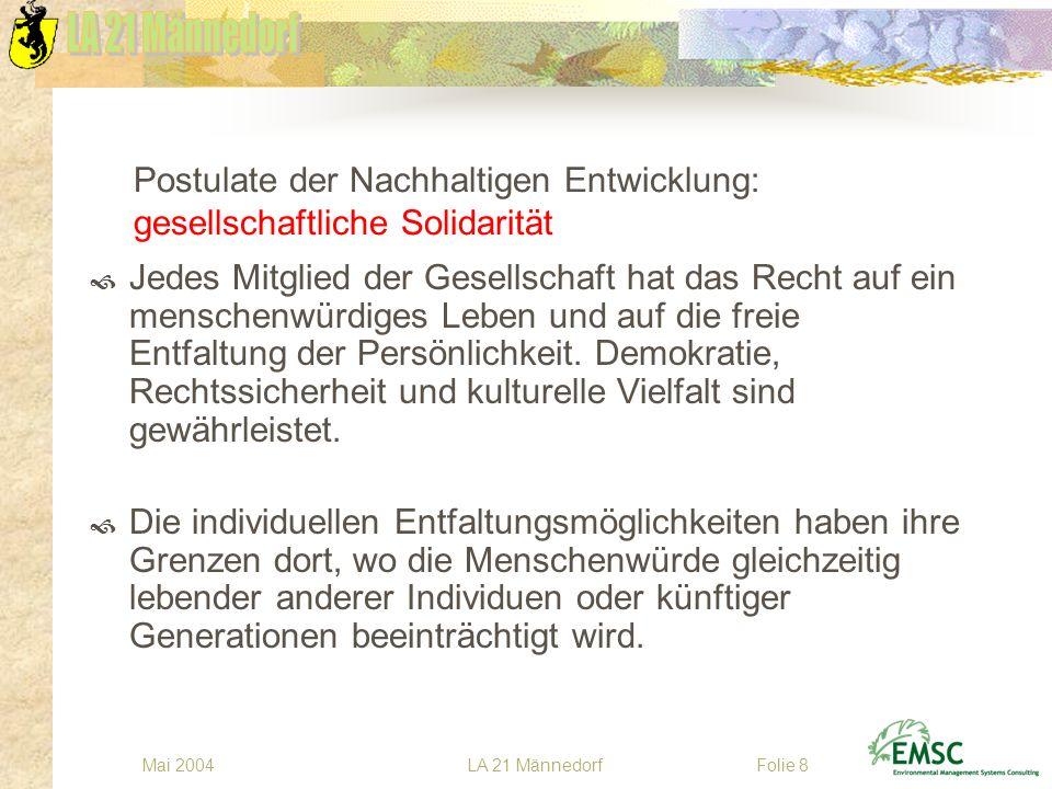 LA 21 MännedorfMai 2004Folie 8 Postulate der Nachhaltigen Entwicklung: gesellschaftliche Solidarität Jedes Mitglied der Gesellschaft hat das Recht auf