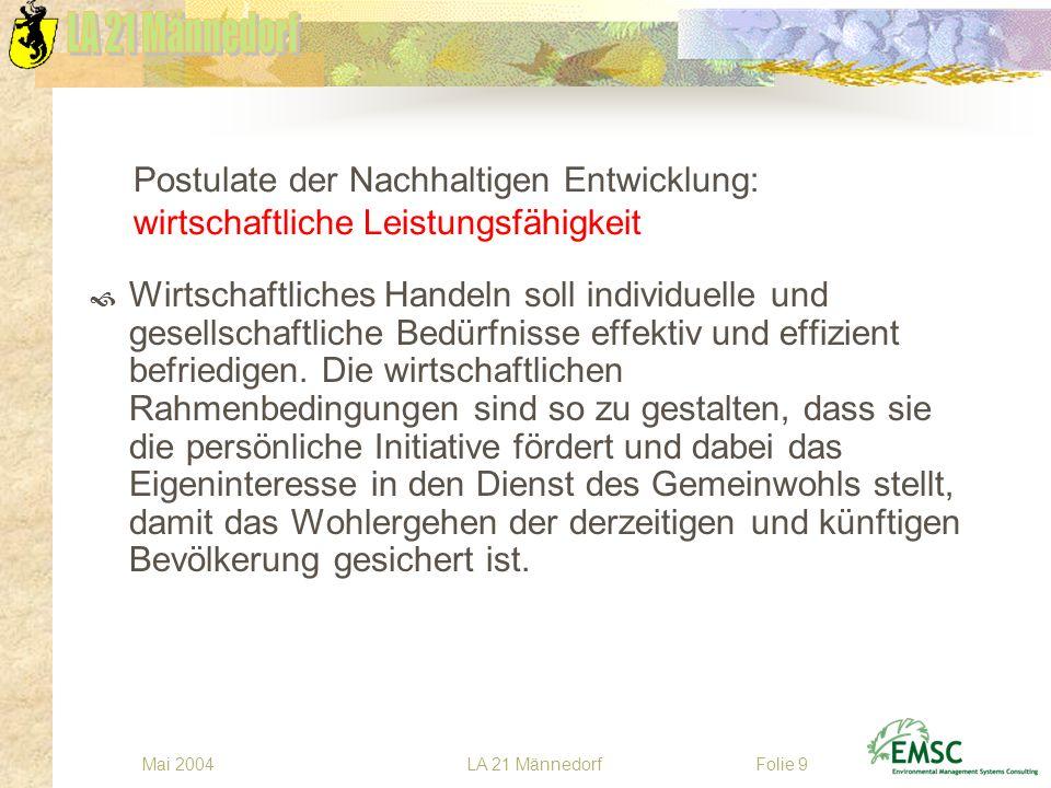 LA 21 MännedorfMai 2004Folie 10 Postulate der Nachhaltigen Entwicklung: ökologische Verantwortung Die natürlichen Lebensgrundlagen sollen langfristig erhalten und bestehende Schäden behoben werden.