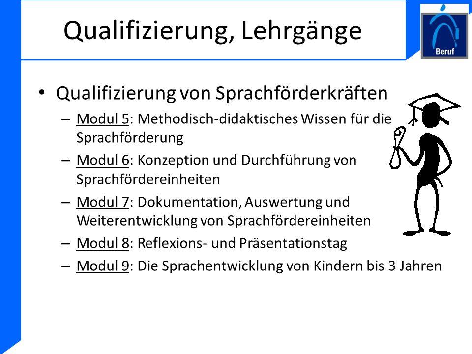 Qualifizierung, Lehrgänge Qualifizierung von Sprachförderkräften – Modul 5: Methodisch-didaktisches Wissen für die Sprachförderung – Modul 6: Konzepti