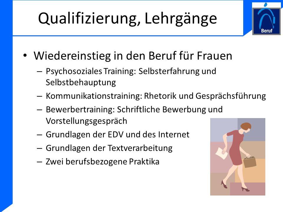 Qualifizierung, Lehrgänge Wiedereinstieg in den Beruf für Frauen – Psychosoziales Training: Selbsterfahrung und Selbstbehauptung – Kommunikationstrain