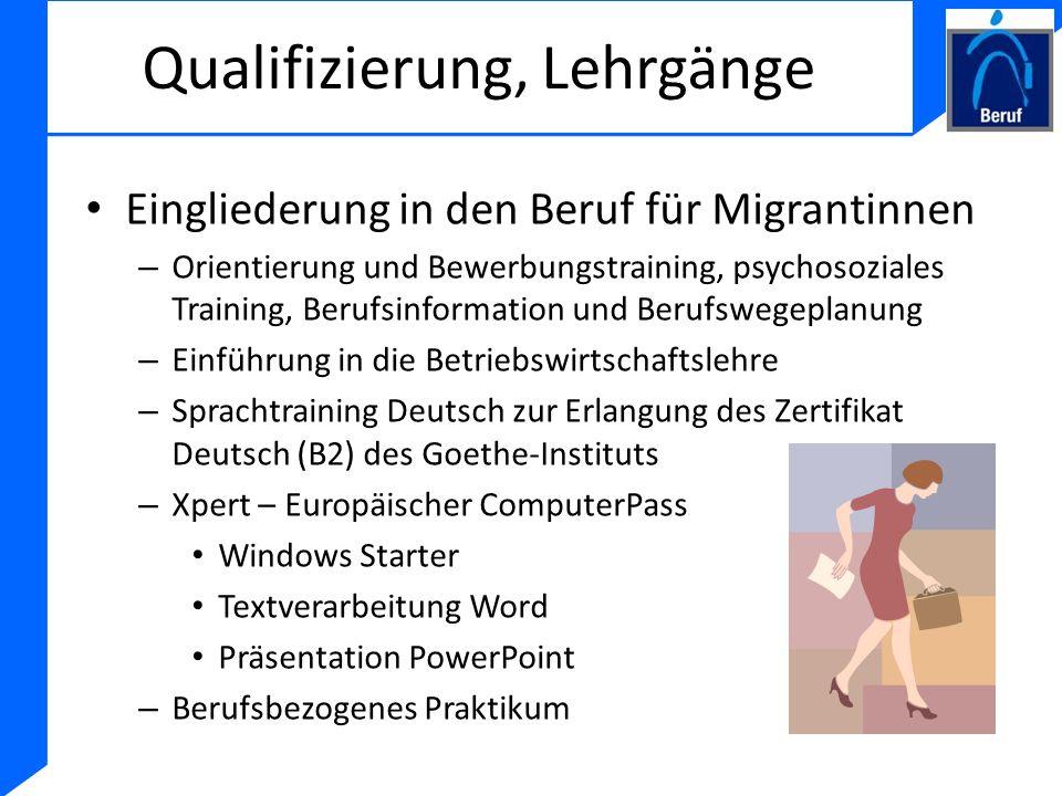 Qualifizierung, Lehrgänge Eingliederung in den Beruf für Migrantinnen – Orientierung und Bewerbungstraining, psychosoziales Training, Berufsinformatio