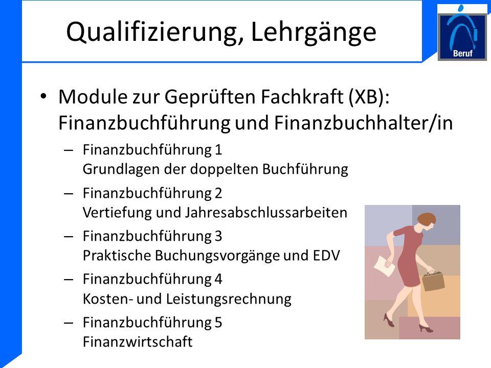 Qualifizierung, Lehrgänge Module zur Geprüften Fachkraft (XB): Finanzbuchführung und Finanzbuchhalter/in – Finanzbuchführung 1 Grundlagen der doppelte