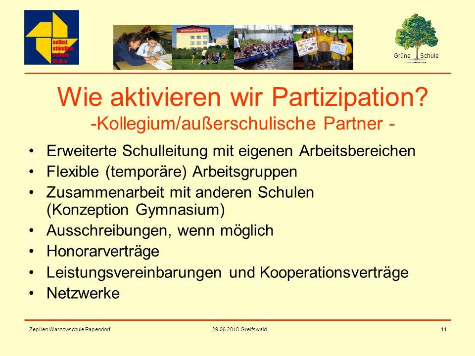 Grüne Schule www.warnowschule.de 29.06.2010 Greifswald Zeplien Warnowschule Papendorf11 Wie aktivieren wir Partizipation? -Kollegium/außerschulische P